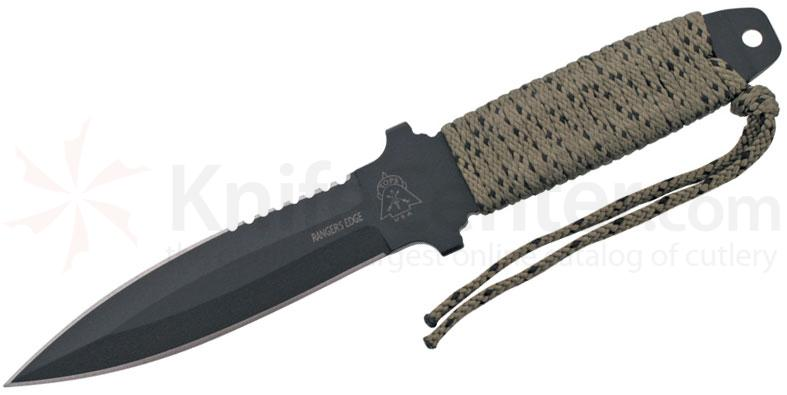 TOPS Knives Ranger's Edge Fixed 5-1/2 inch Double Edge 1095 Carbon Dagger, Cord Wrapped Handles, Nylon Sheath