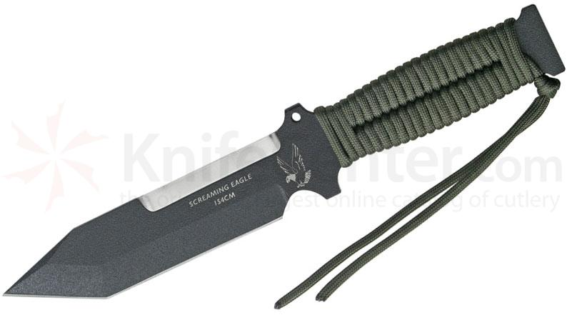 TOPS Knives Screaming Eagle Fixed 5-5/8 inch 5160 Carbon Tanto Blade, OD Green Paracord Handles, Nylon Sheath