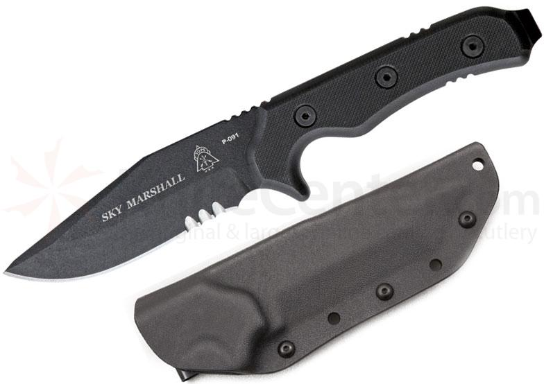 TOPS Knives Sky Marshall Hunters Point Fixed 4-3/8 inch Carbon Steel Blade, G10 Handles