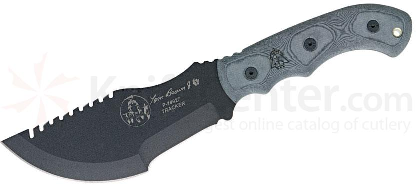 TOPS Knives Tom Brown Tracker #1 Fixed 6.38 inch Carbon Steel Blade, Black Micarta Handles