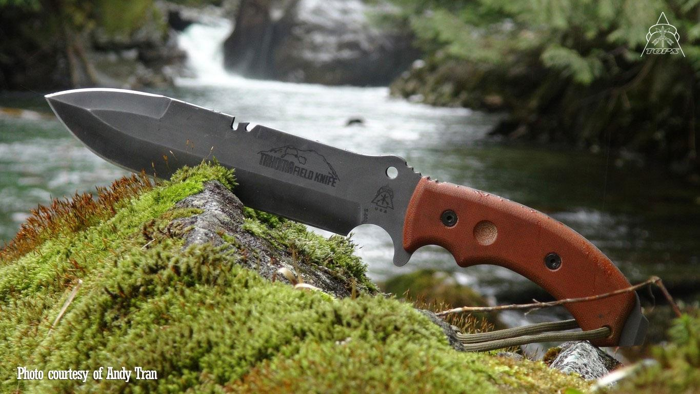 Tops Knives Tahoma Field Knife Double Edged 7 5 16 Quot 1095