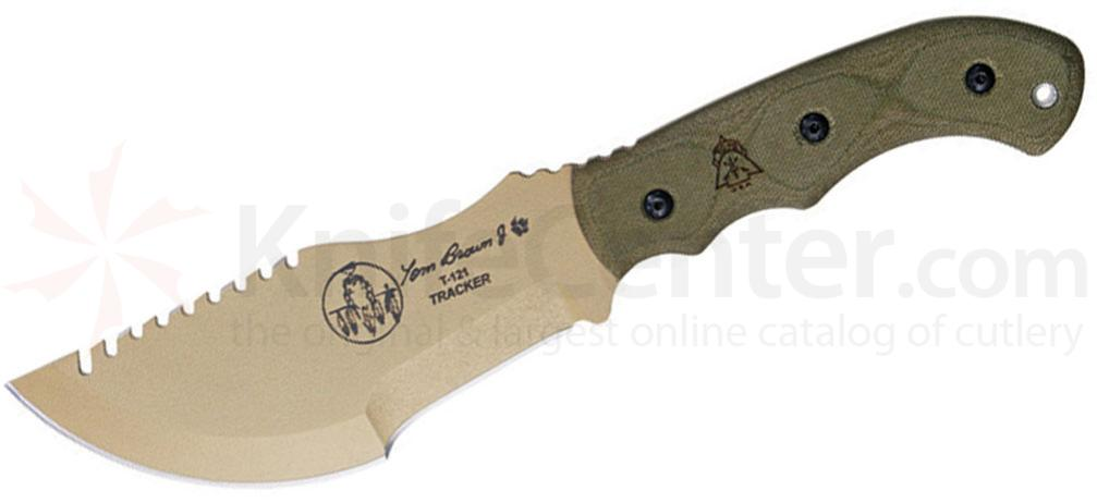TOPS Knives Tom Brown Tracker Fixed 4-1/4 inch Coyote Tan Blade, Green Canvas Micarta Handles (TBT01-TAN)