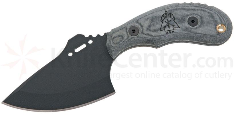 TOPS Knives Wolf Pup XL 3-1/2 inch Black 1095 Carbon Blade, Linen Micarta Handles, Kydex Sheath