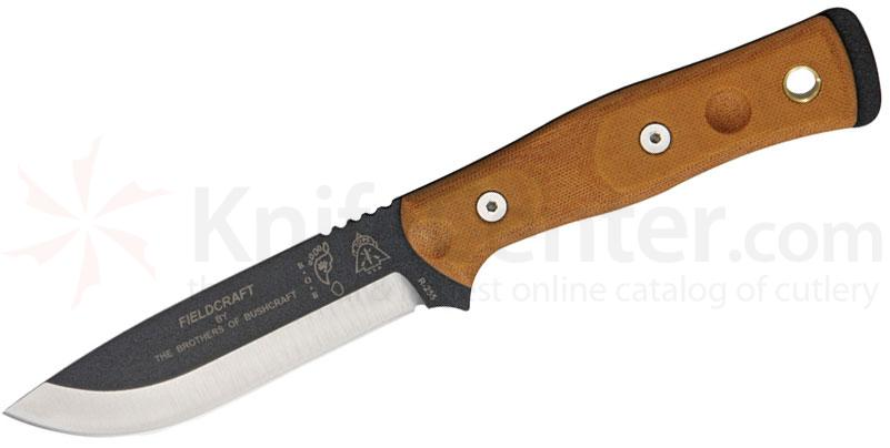 TOPS Knives BOB Brothers of Bushcraft Hunter 4-5/8 inch 1095 Blade, Brown Micarta Handles