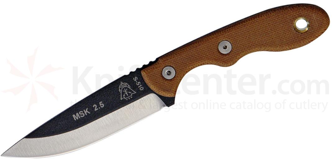 TOPS Knives Mini Scandi Knife Fixed 3 inch 1095 Blade, Brown Micarta Handles, Kydex Sheath