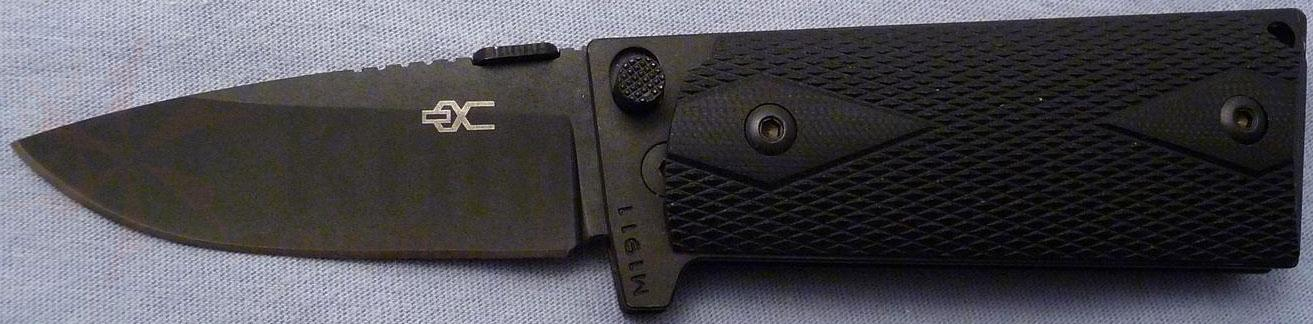 Ultimate Equipment M1911 Compact Folding 2.9 inch Plain Black Titanium Nitride Blade, Black G10 Grips