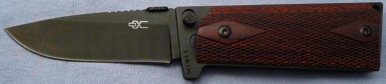 Ultimate Equipment M1911 Standard Folding 3.5 inch Plain Black Titanium Nitride Blade, Checkered Rosewood Grips