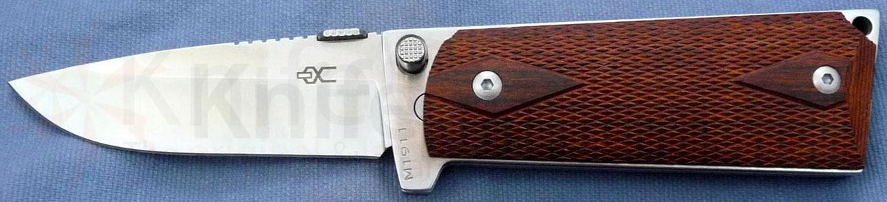 Ultimate Equipment M1911 Standard Folding 3.5 inch Plain Satin Polished Blade, Checkered Rosewood Grips