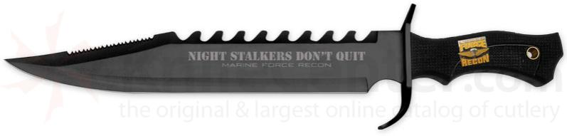 United Cutlery Marine Force Night Stalker Bowie 12 inch Blade, Rubberized Handle
