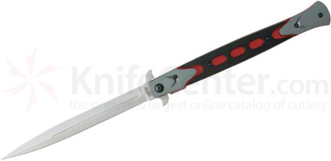 United Cutlery Rampage Stiletto Folding Knife Assisted 6-1/8 inch Blade, Black and Red Handles