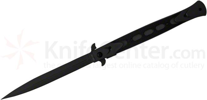 United Cutlery Rampage Stiletto Folding Knife Assisted 6-1/8 inch Blade, Black Handles