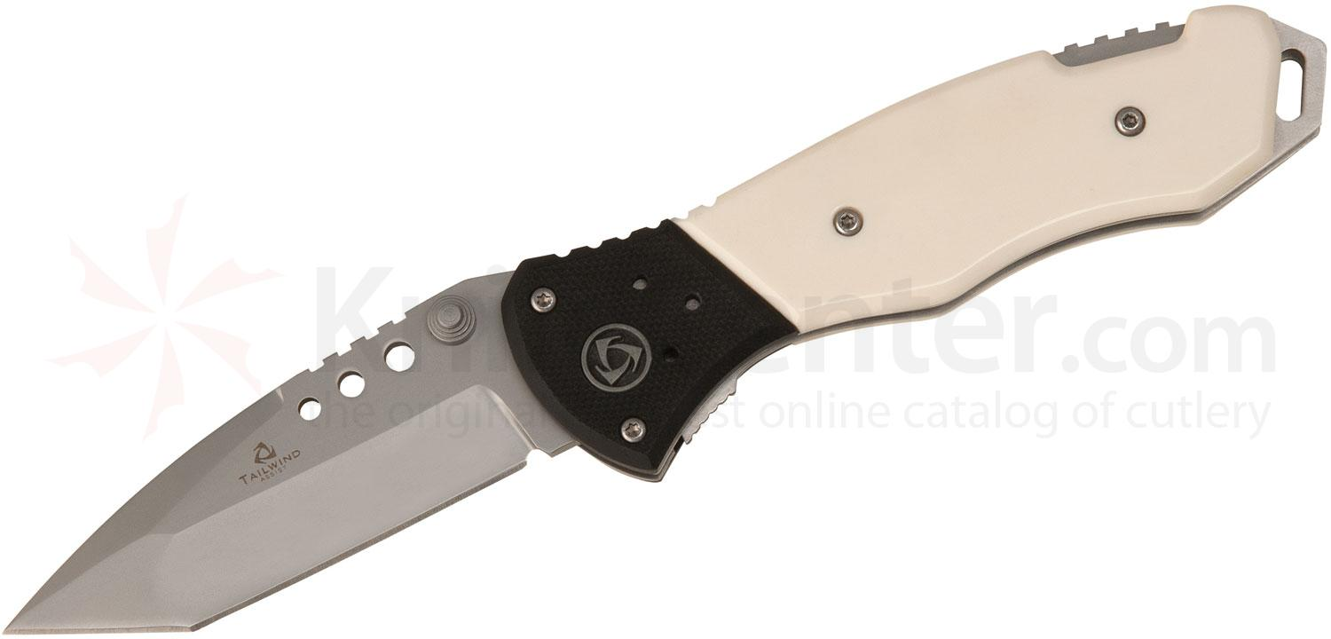 United Cutlery Tailwind Folder Assisted 3-1/2 inch Plain Tanto Blade, White Bone and G10 Handles