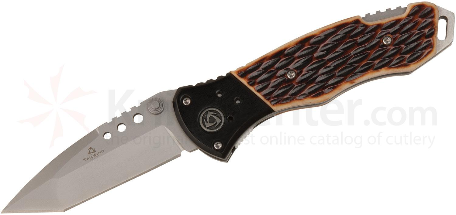 United Cutlery Tailwind Folder Assisted 3-1/2 inch Plain Tanto Blade, Classic Bone and Wood Handles