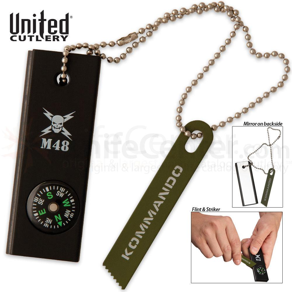 United Cutlery Extreme 3-in-1 Survival Tool, Fire Stirker, Signaling Mirror and Compass