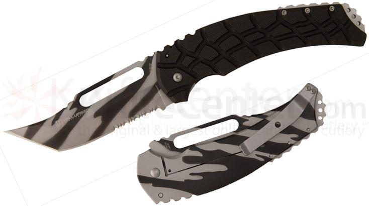 United Cutlery Willumsen Urban Tac Blondie Folding 4-3/8 inch Camo Combo Blade, Black G10 Handles