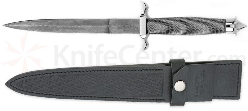 Gil Hibben Silver Shadow Dagger 7-1/2 inch Double Edge Damascus Blade, Wire Wrap Handle