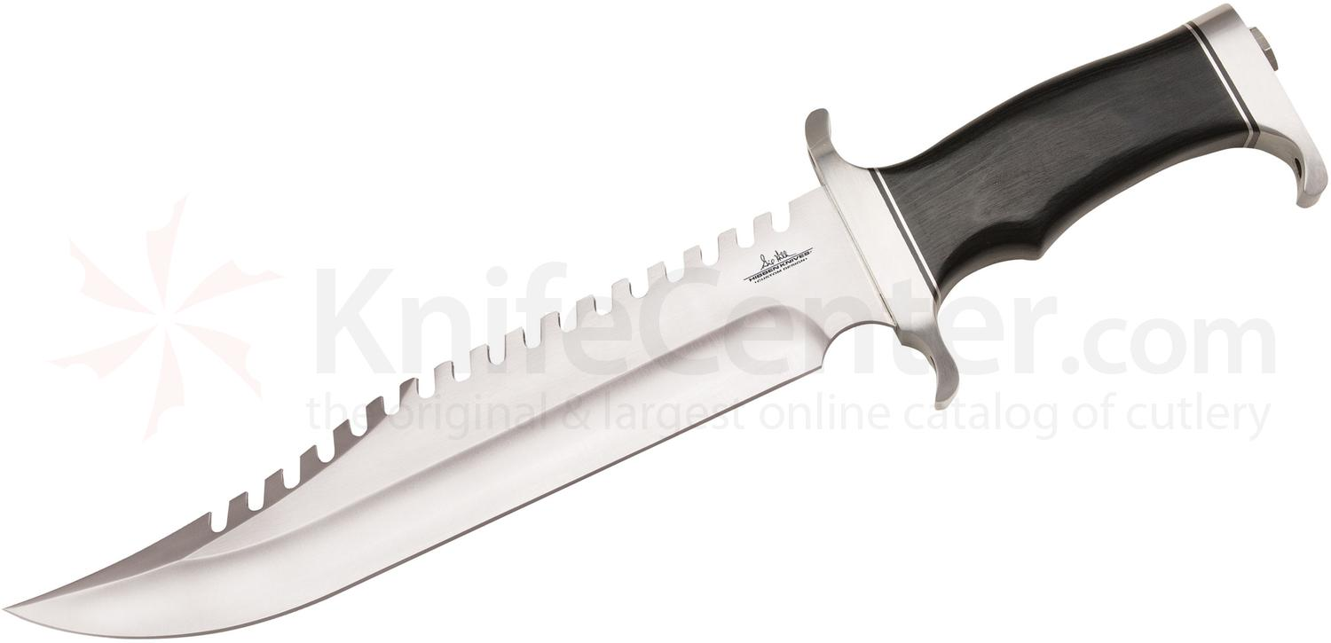 United Gil Hibben Survivor Bowie Knife 10 inch Sawback Blade, Micarta Handles, Leather Sheath