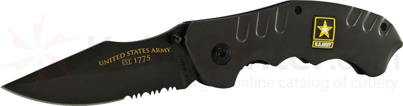 U.S. Army Folding Knife 3.1 inch Combo Blade, Black Steel Handles
