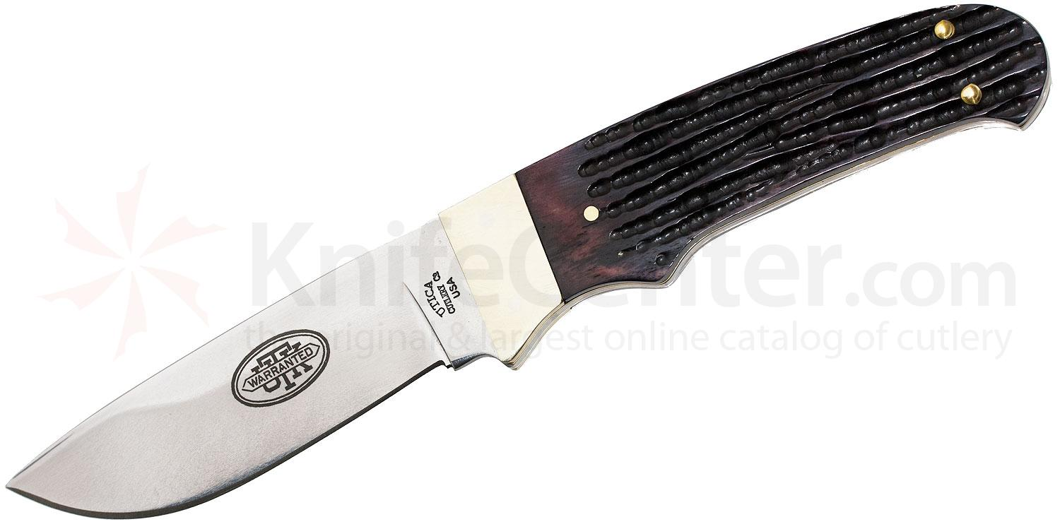 Utica Catskill Hunting Knife Fixed 3-5/8 inch Carbon Steel Blade, Brown Jigged Bone Handles