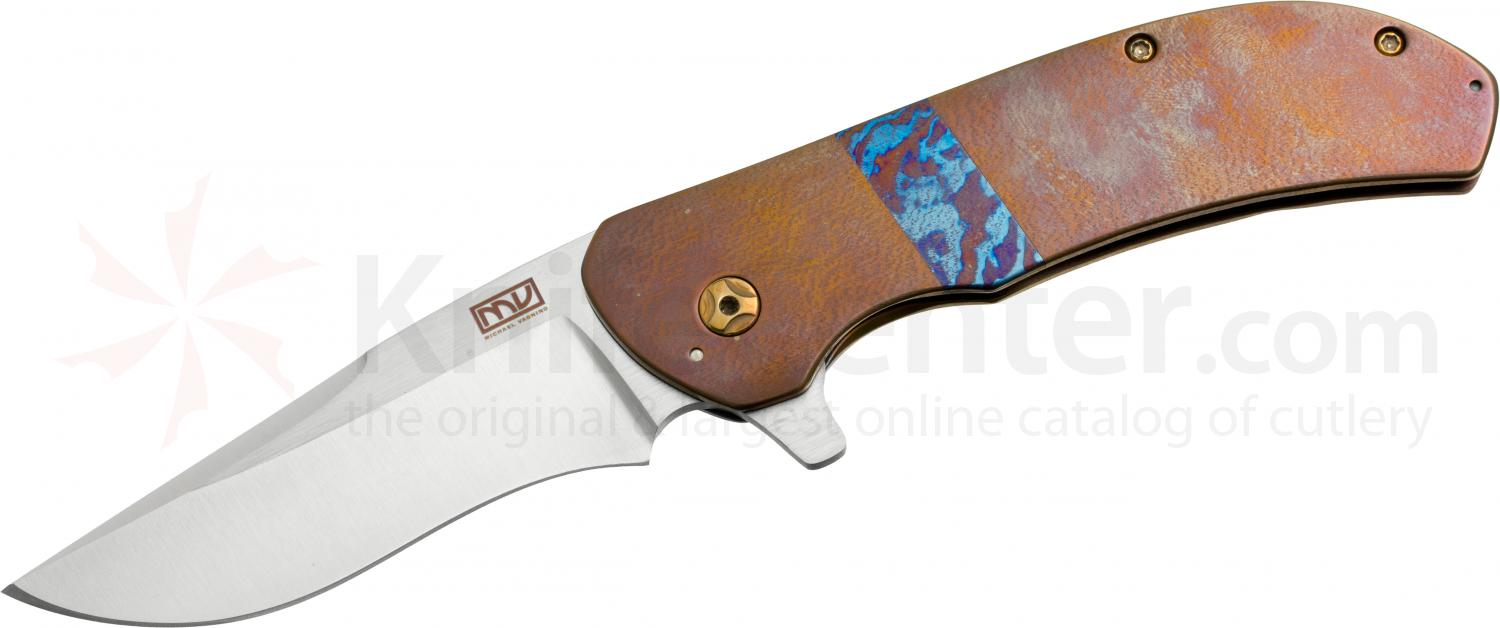 Mike Vagnino Custom Eliminator Flipper 3.375 inch CTS-XHP Drop Point Blade, Bronze Titanium Handles with Mokuti Inlay