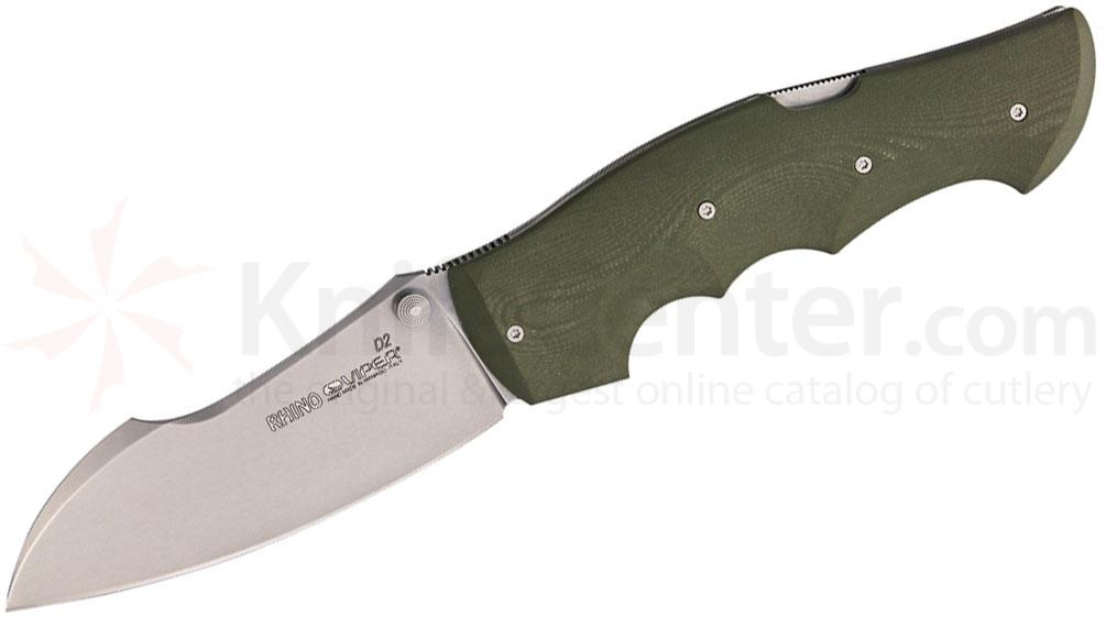 Viper Knives Rhino Folding 4.25 inch Stonewashed D2 Sheepsfoot Blade, OD Green G10 Handle