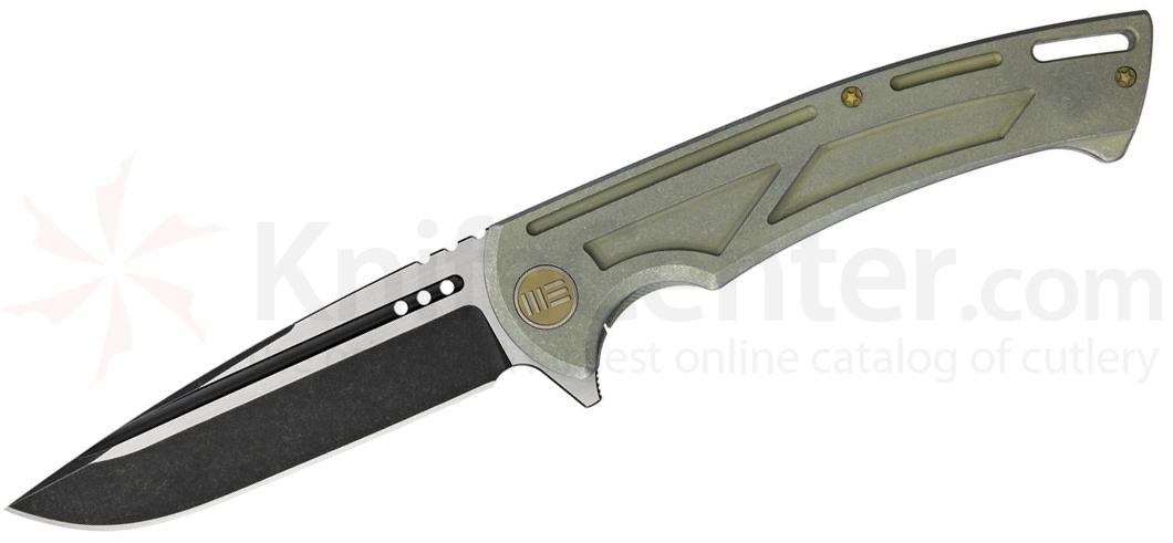 We Knife Company 614C Flipper 4.13 inch M390 Black Two-Tone Blade, Green Stonewashed Titanium Handles
