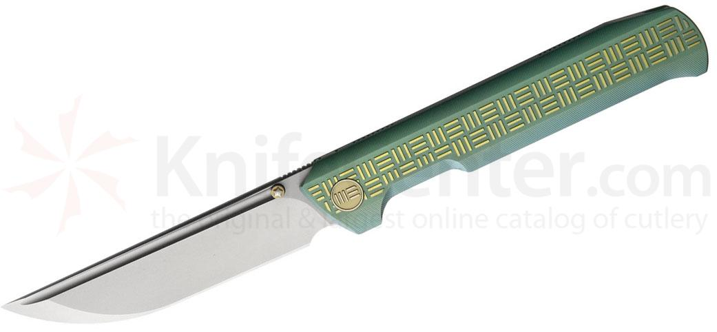 We Knife Company 710F Straight Up Folding Knife 3.86 inch M390 Satin Blade, Milled Green Titanium Handles