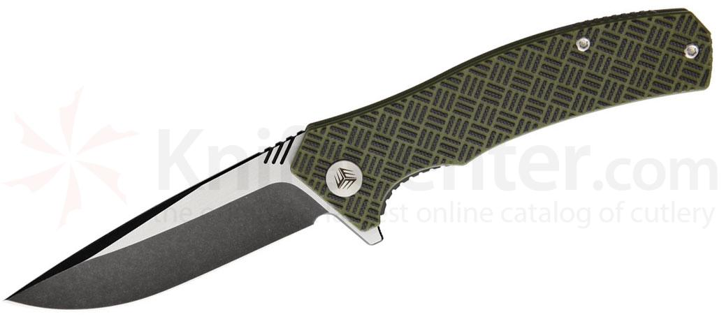 We Knife Company 711B Blitz Flipper 3.35 inch VG10 Black Stonewashed Two-Tone Blade, OD Green and Black G10 Handles