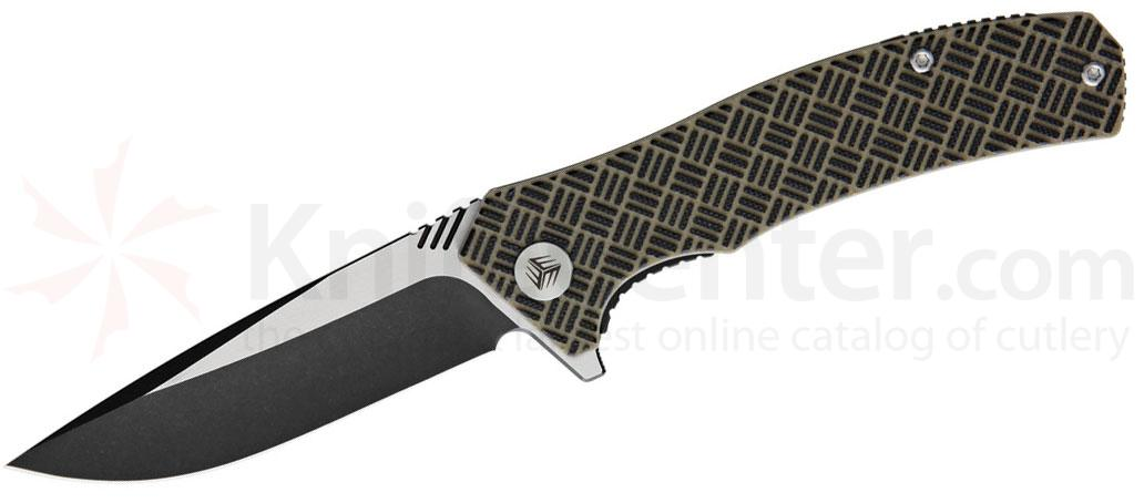 We Knife Company 711D Blitz Flipper 3.35 inch VG10 Black Stonewashed Two-Tone Blade, Tan and Black G10 Handles
