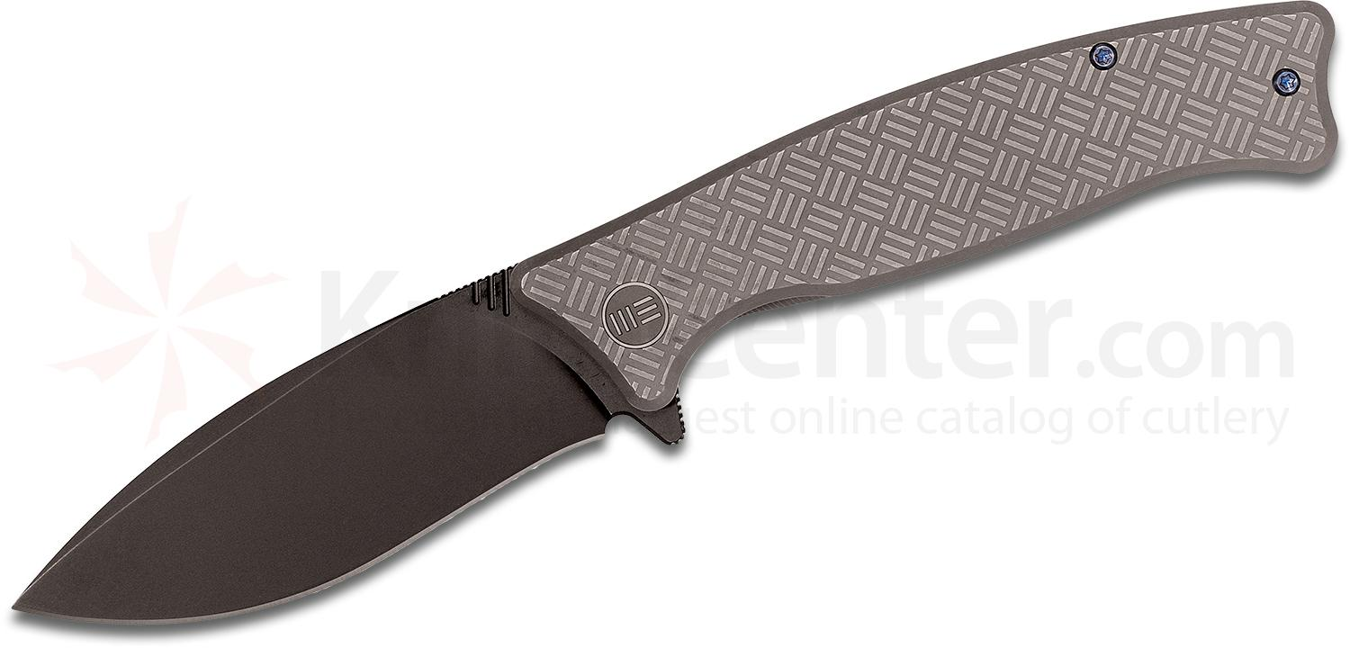 We Knife Company 712C Balaenoptera Flipper 3.55 inch M390 Black Drop Point Blade, Gray Titanium Handles