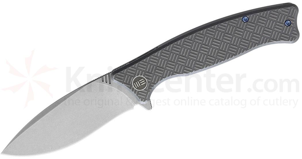 We Knife Company 712D Balaenoptera Flipper 3.55 inch M390 Stonewashed Drop Point Blade, Gray Titanium Handles