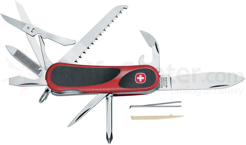 Wenger Swiss Army EvoGrip 18 Multi-Tool, 3.25 inch Red & Black Handles