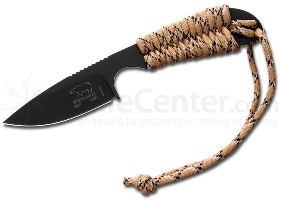White River Knives Backpacker Fixed 3.25 inch S30V Black ionbond Blade, Desert Camo Paracord Handle, Kydex Sheath
