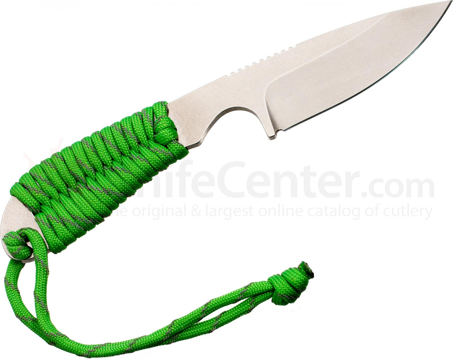 White River Knives Backpacker Fixed 3.25 inch S30V Blade, Reflective Neon Green Paracord Handle, Kydex Sheath