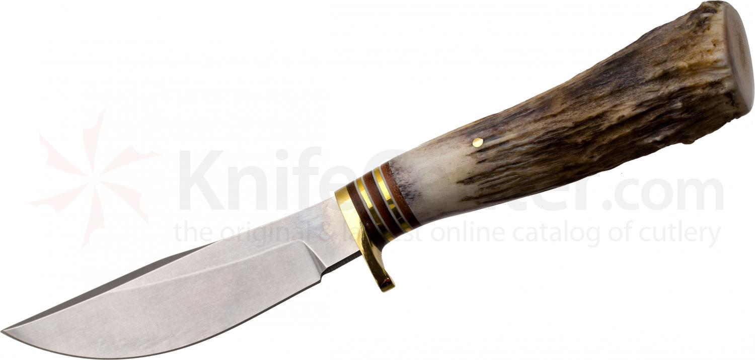 White River Knives Large Clip Point Hunter Fixed 4.5 inch 52100 Carbon Blade, Antler Handle, Leather Sheath