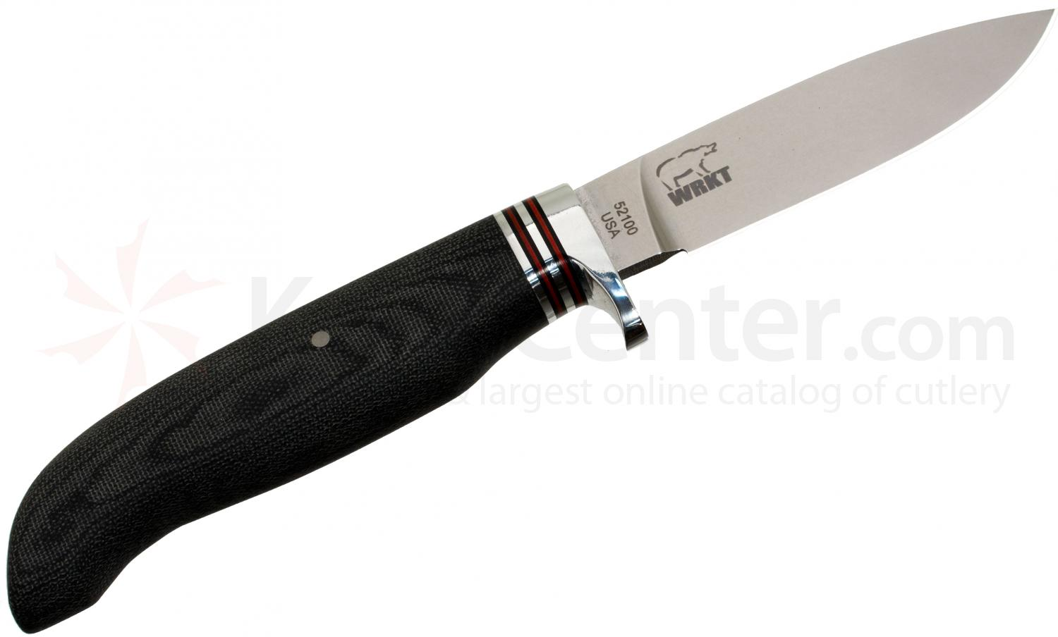 White River Knives Drop Point Hunter Fixed 3.25 inch 52100 Carbon Blade, Black Micarta Handle, Kydex Sheath