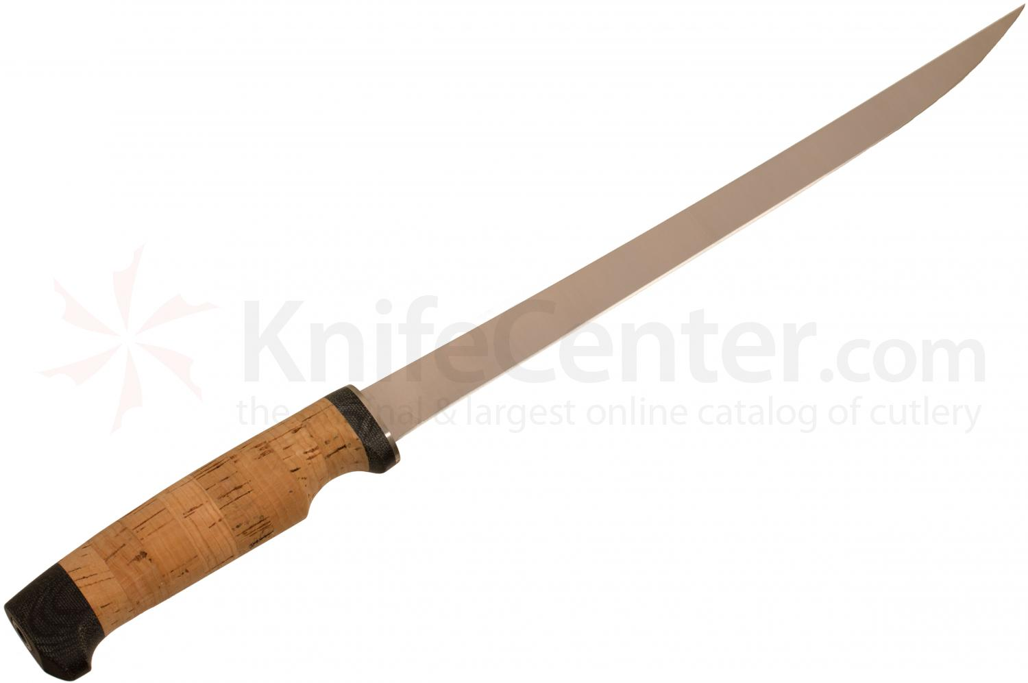 White River Knives Fillet Knife 11 inch 440C Flexible Blade, Cork Handle, Leather Sheath
