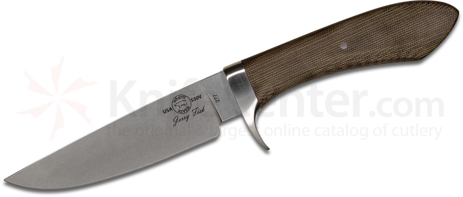 White River Knives Jerry Fisk Sendero Classic Fixed 4.5 inch S30V Stonewashed Blade, Olive Drab Canvas Micarta Handles, Leather Sheath