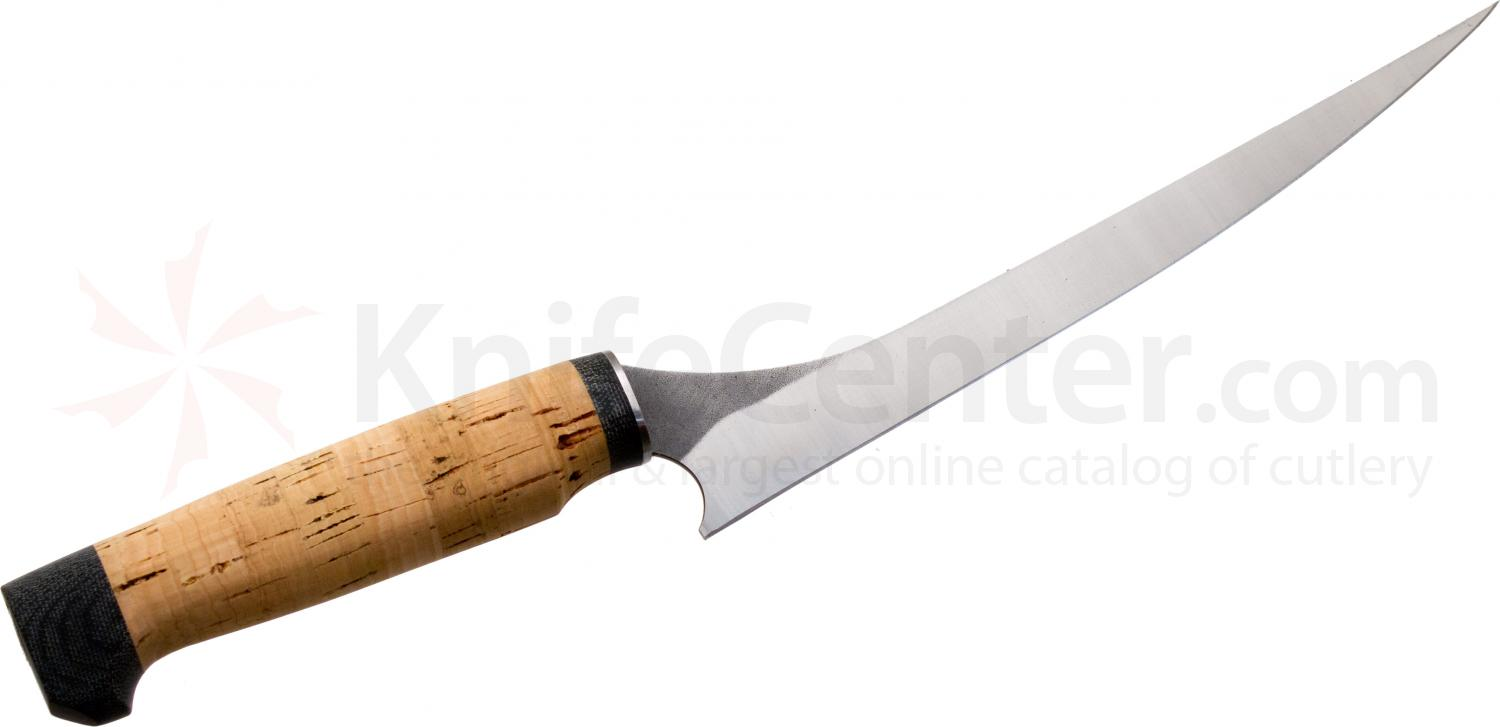 White River Knives Step-Up Fillet Knife 8.5 inch 440C Flexible Blade, Cork Handle, Leather Sheath
