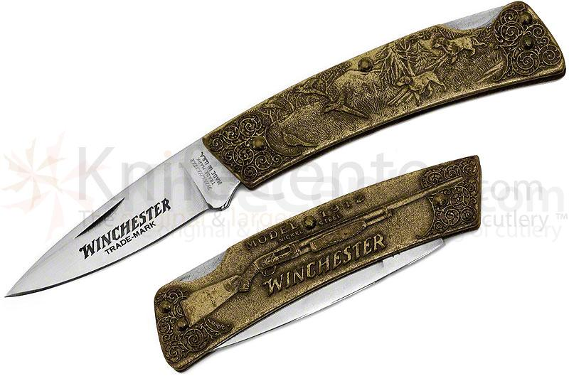 Winchester Model 1912 Commemorative Folding Knife 2 inch Blade, Relief Bronze Handles