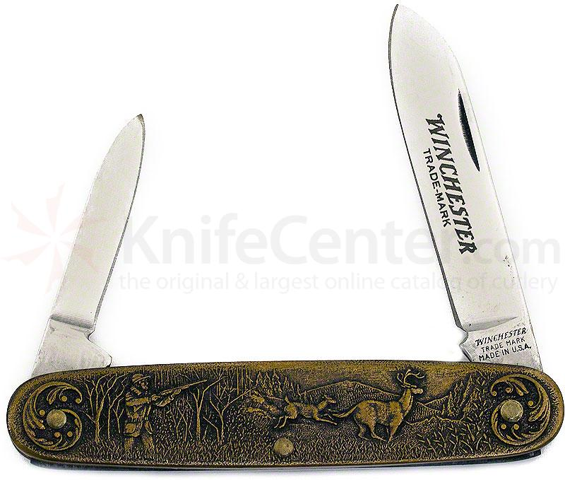 Winchester Model 94 Commemorative Pen Knife 3-1/2 inch Closed, Relief Bronze Handles