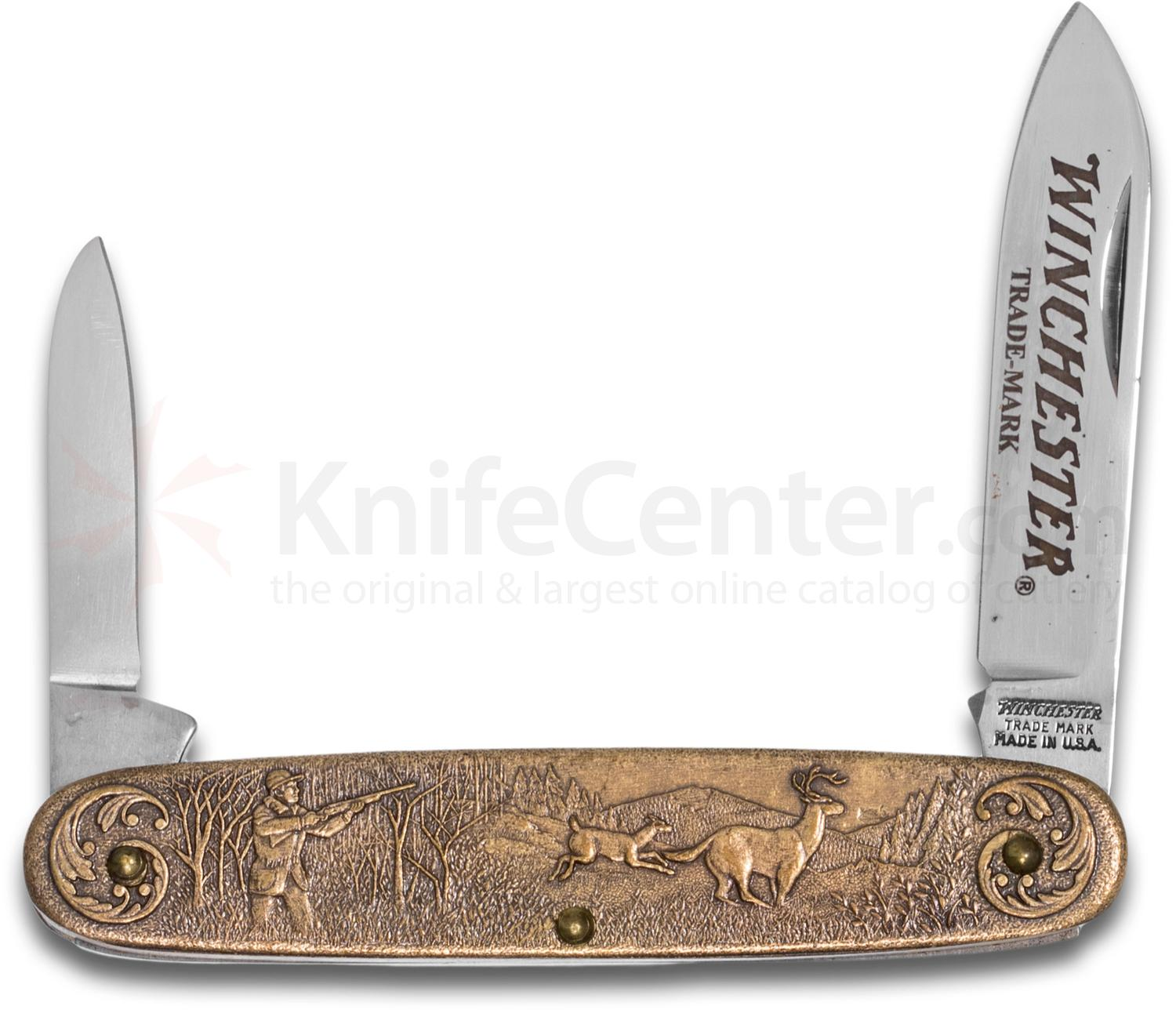 Winchester Model 94 Commemorative Pen Knife 3.5 inch Closed, Relief Bronze Handles