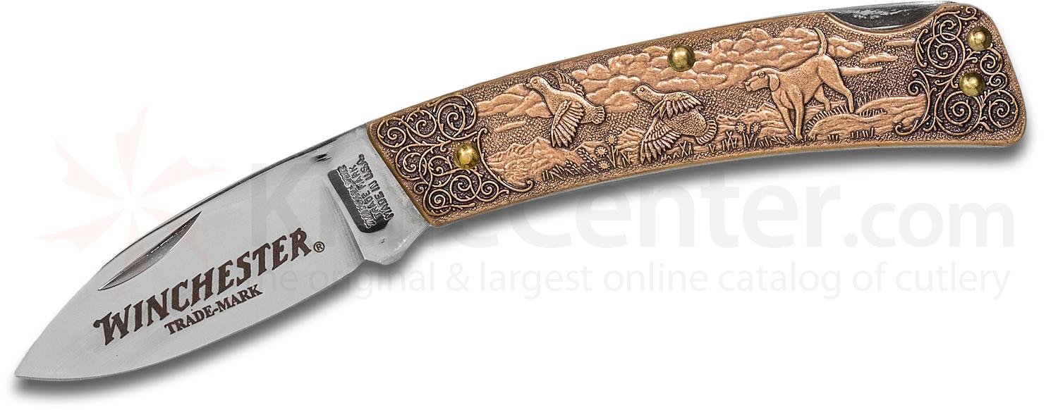 Winchester Model 101 Commemorative Folding Knife 2 inch Blade, Relief Bronze Handles