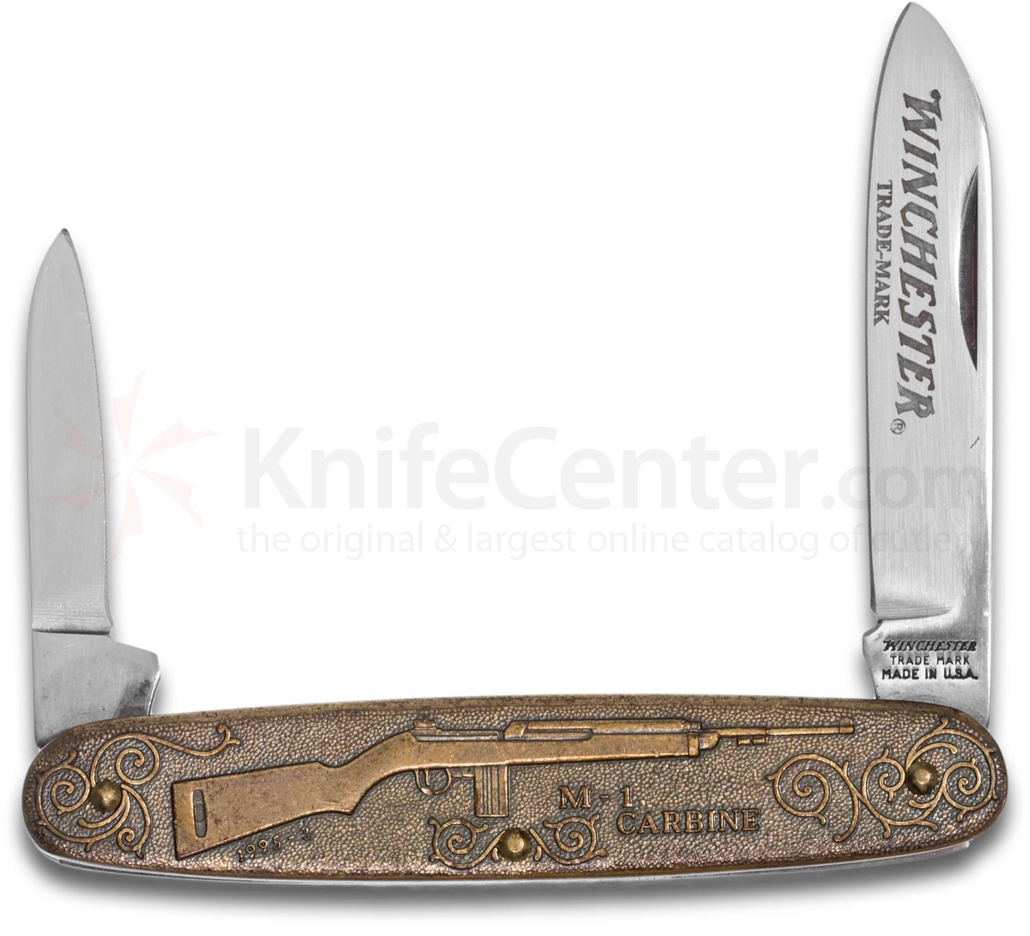 Winchester M1 Carbine Commemorative Pen Knife 3.5 inch Closed, Relief Bronze Handles