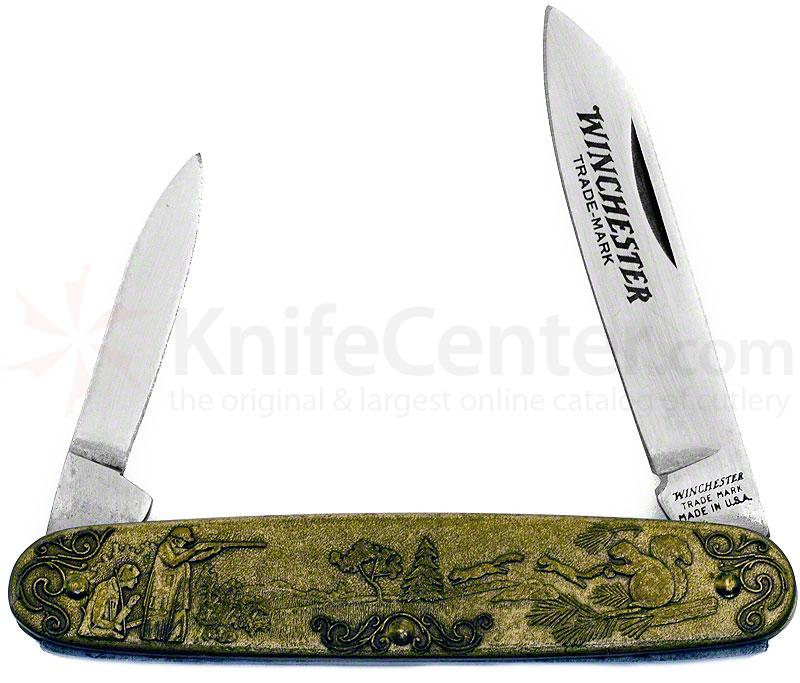 Winchester Model 1890 Commemorative Pen Knife 3-1/2 inch Closed, Relief Bronze Handles