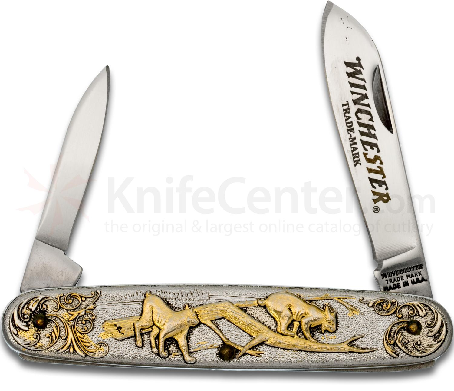 Winchester Model 1907 Year 2000 Limited Edition Pen Knife 3.5 inch Closed, Relief Nickel Silver Handles with 24k Gold Highlights