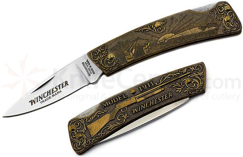 Winchester Model 1911 Commemorative Folding Knife 3 inch Blade, Relief Bronze Handles