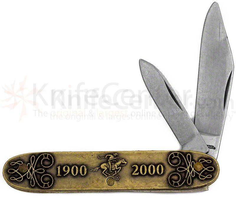 Winchester  inch1900-2000 inch Commemorative Pen Knife 3-1/2 inch Closed, Relief Bronze Handles