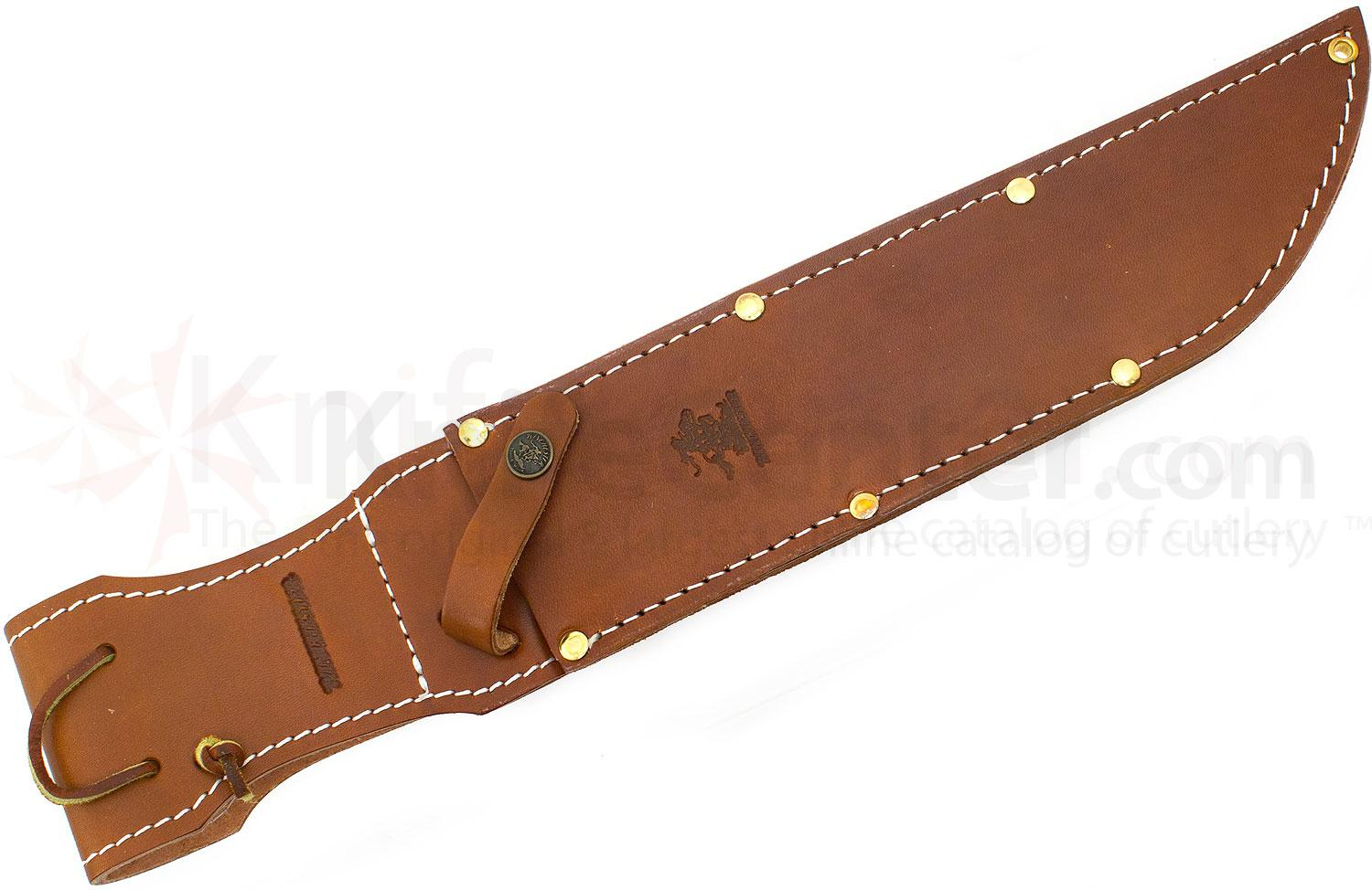 Winchester deluxe bowie 10 quot etched blade slab stag handle leather