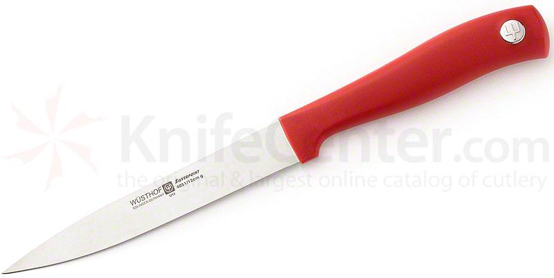 Wusthof Silverpoint II 4-1/2 inch Utility Knife, Red Handle